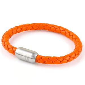 Copy of Leather Single Wrap - Orange / Silver