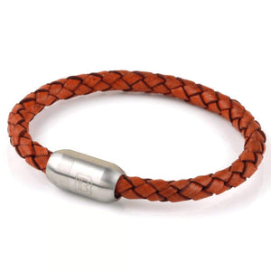 Copy of Leather Single Wrap - Rust / Silver