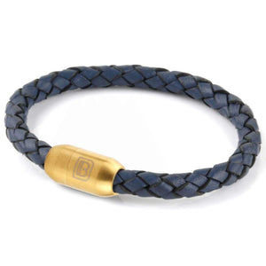 Copy of Leather Single Wrap - Steel Blue / Gold