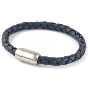 Copy of Leather Single Wrap - Steel Blue / Silver