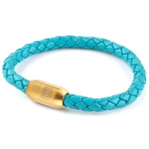 Copy of Leather Single Wrap - Turquoise / Gold