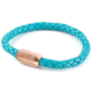 Copy of Leather Single Wrap - Turquoise / Rose Gold