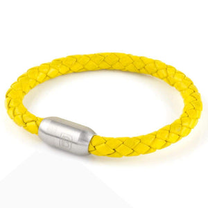 Copy of Leather Single Wrap - Yellow / Silver