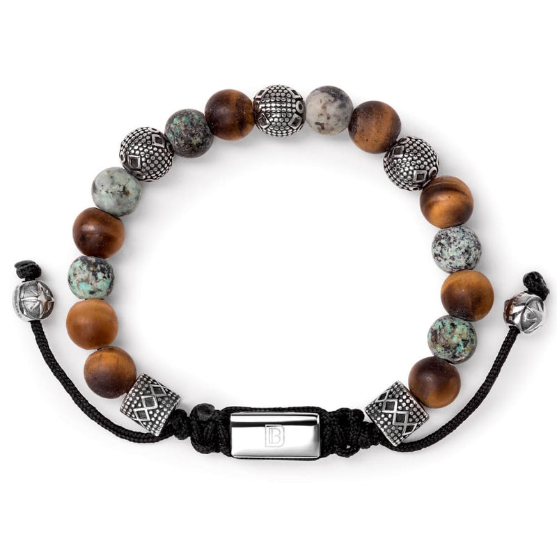 Matte Tiger Eye Turquoise and Silver Tropez - 6 1/4 - 7