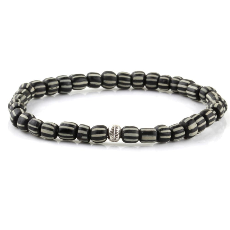 Tribal Bracelet - Sterling Silver - Black & White / S/M (Up to 7 1/2 Inches)