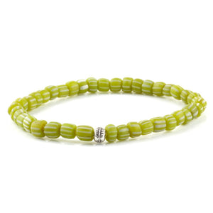 Tribal Bracelet - Sterling Silver - Lime / S/M (Up to 7 1/2 Inches)