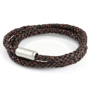Woven Leather Triple Wrap - Chocolate / 6 1/2