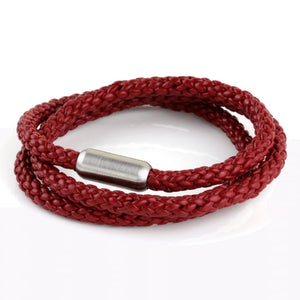 Woven Leather Triple Wrap - Dark Red / 6 1/2