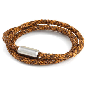 Woven Leather Triple Wrap - Light Brown / 6 1/2