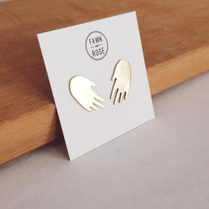 Hand Stud Earrings (Silver/Gold)