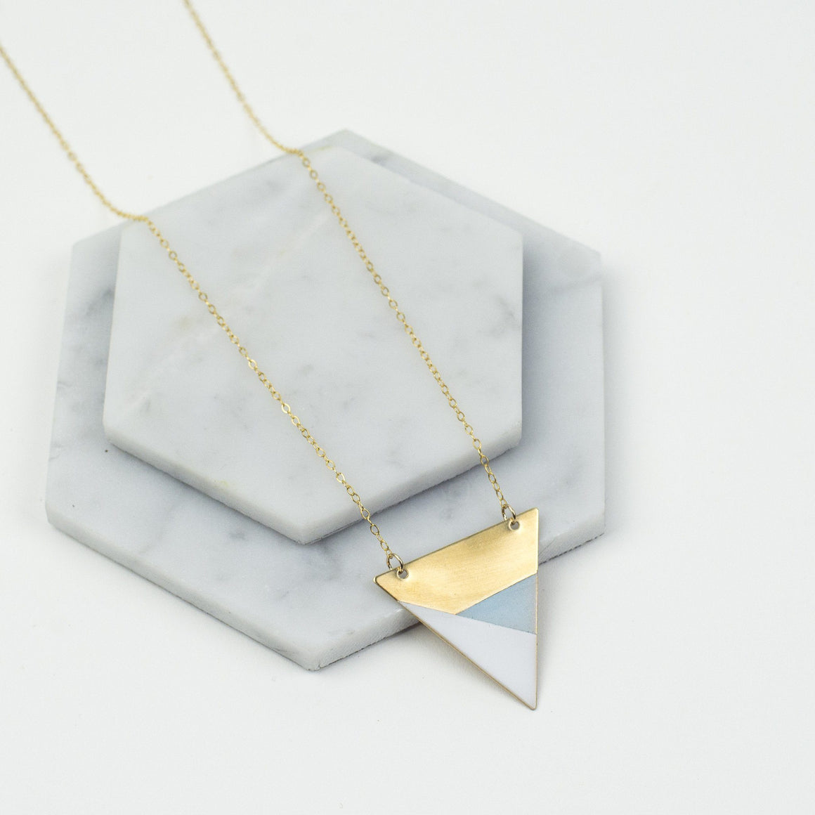 Brass Triangle Necklace (Blue - White)