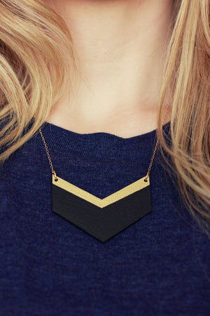 Wooden Chevron Necklace (Black - Gold)