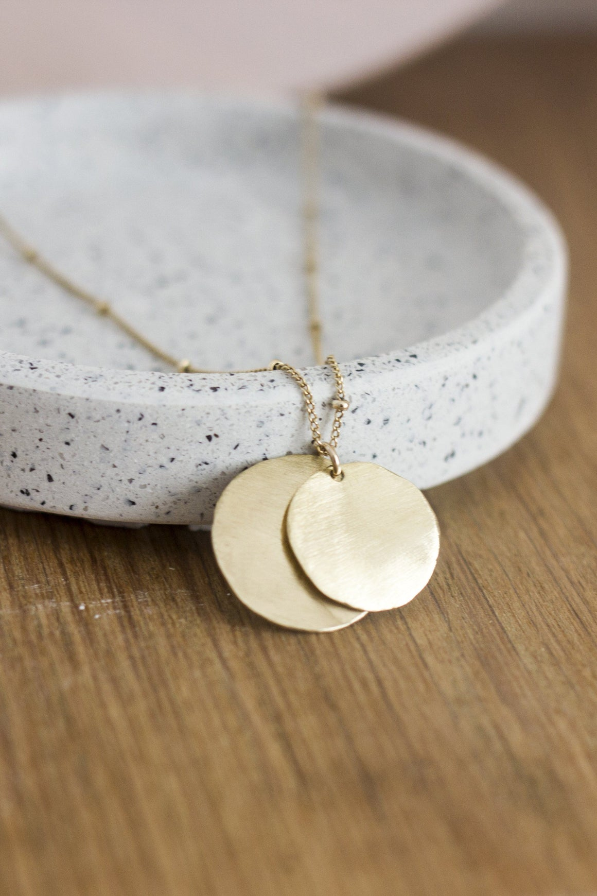 hammered brass disc necklace