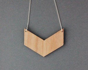 Three Colour Glitter Wooden Chevron Necklace (Pink - Grey - Silver)
