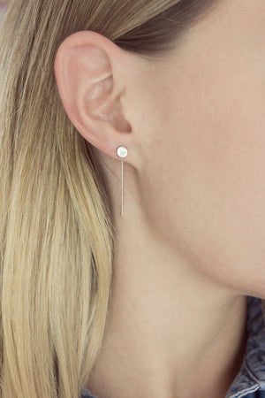 Sterling Disc Circle Ear Threads