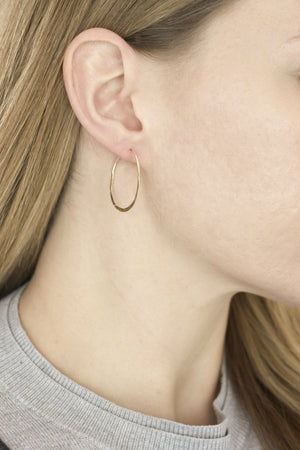 Gold Half Hammered Hoops