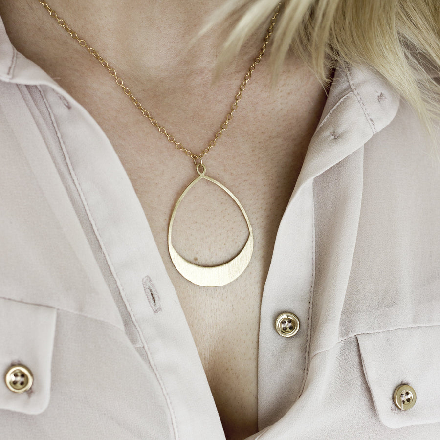 Large Brushed Brass Teardrop Necklace