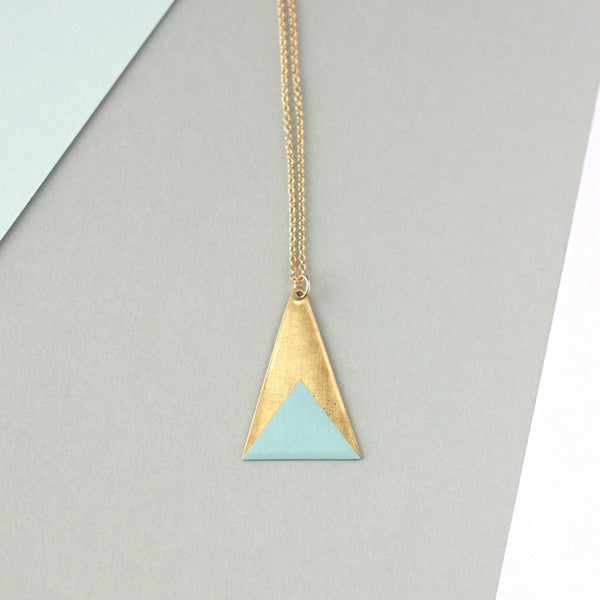 Long Brass Triangle Necklace (Blue)
