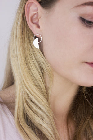 Sterling Silver Moon Phase Studs