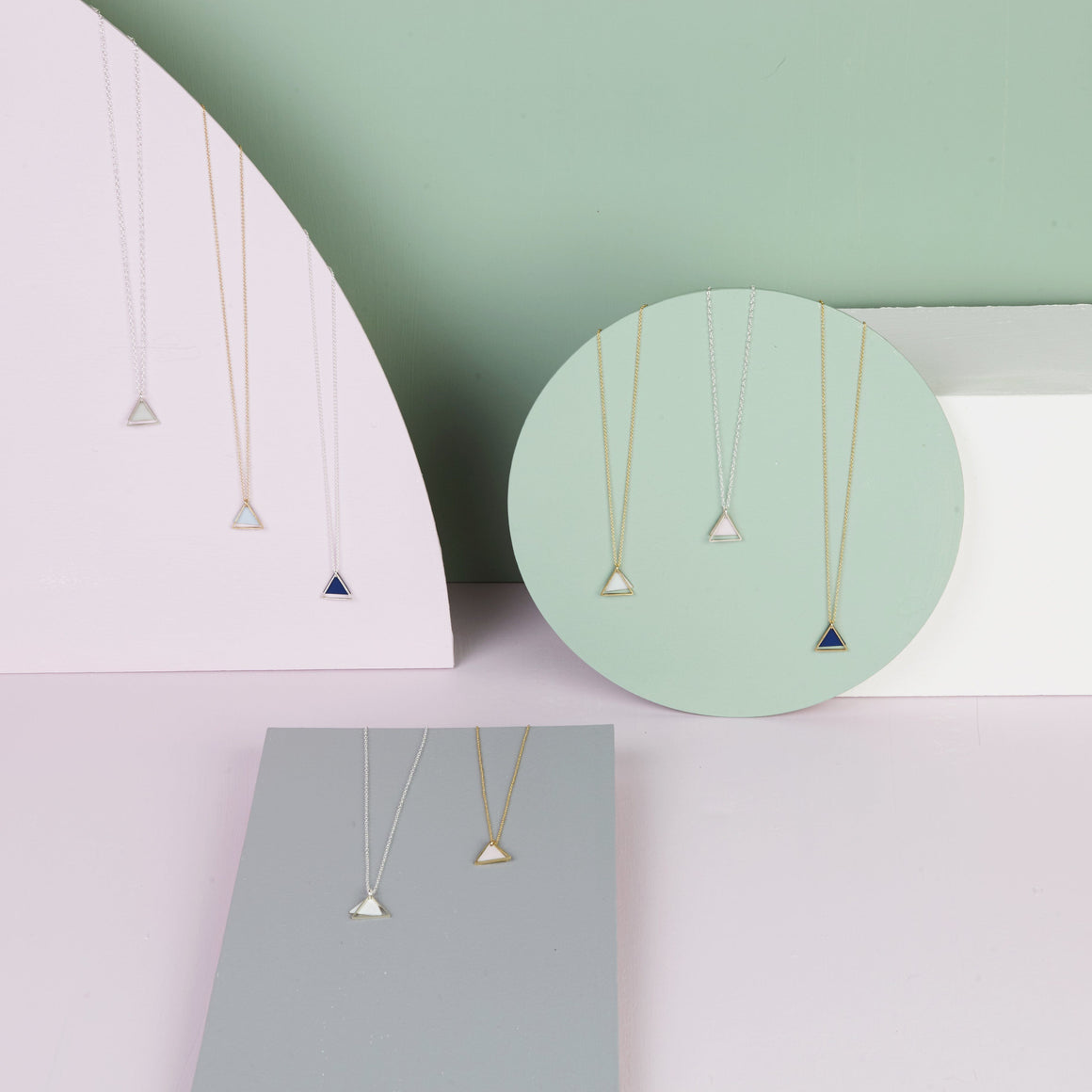 Mini Geometric Double Triangle Necklace (Pink/Mint/White/Navy Blue)