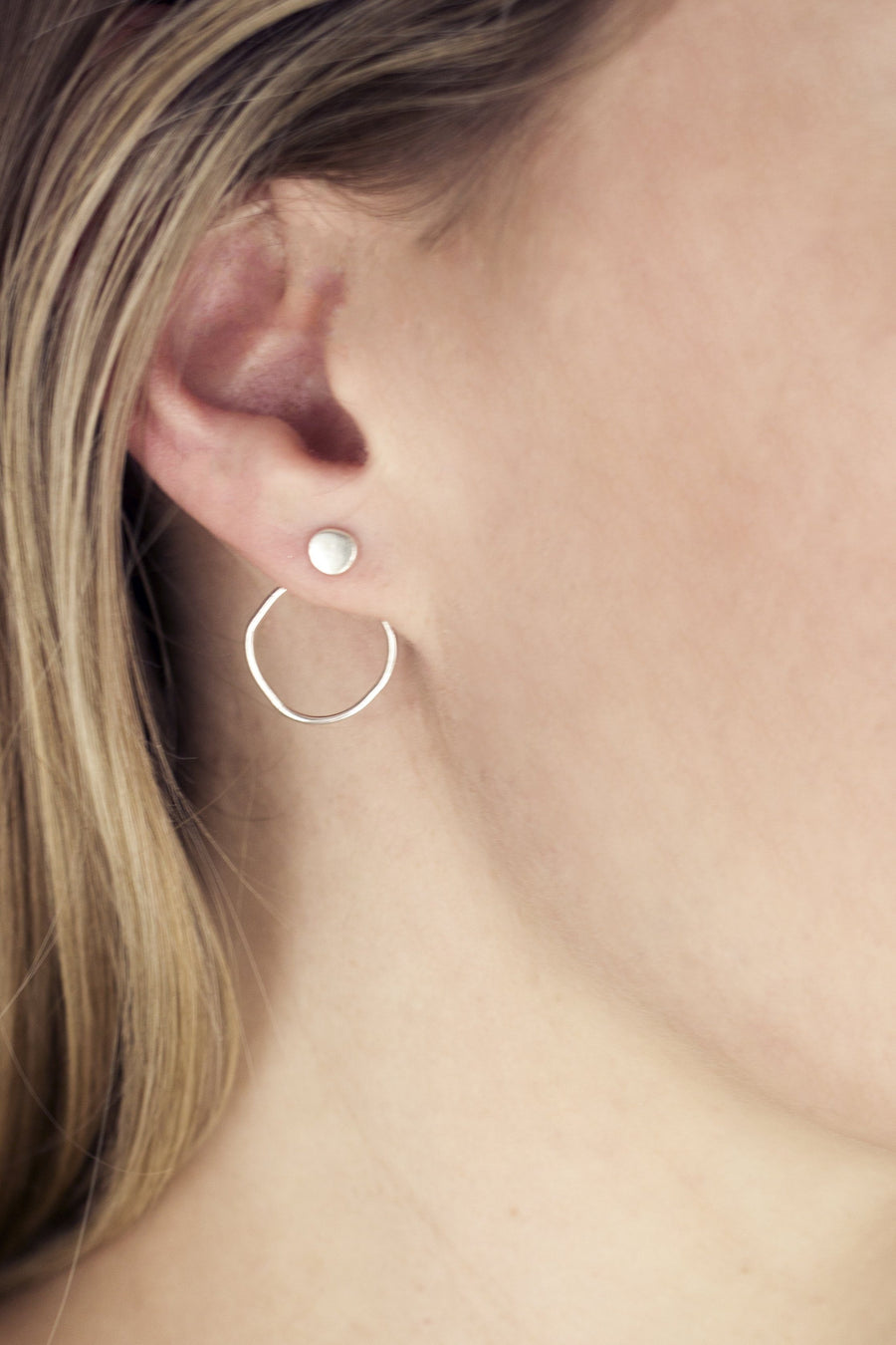 Sterling Silver Organic Circle Ear Jackets
