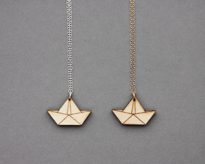 Wooden Origami Boat Necklace