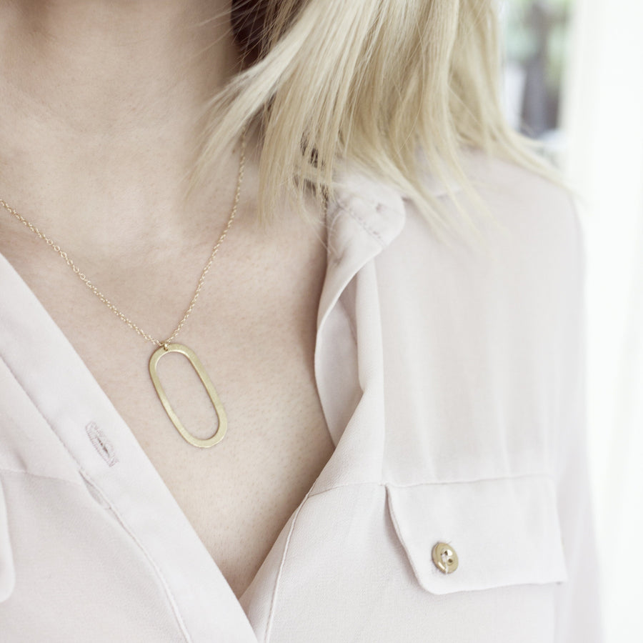 Brushed Brass Oval Necklace