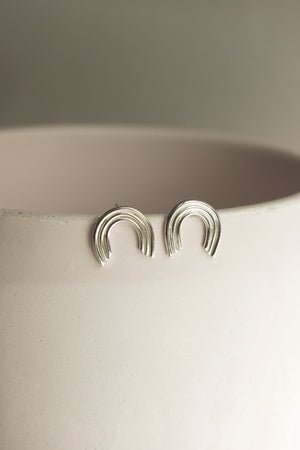 Sterling Silver Rainbow Mini Studs