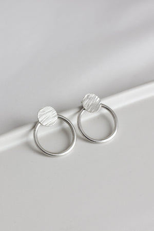 Textured Circle Ear Jacket Earrings (Silver)
