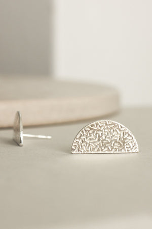 Textured Crescent Earrings (Silver)