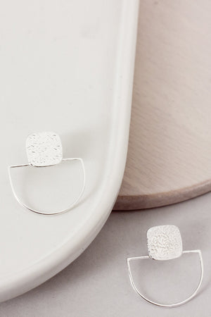 Textured Deco Studs (Silver)