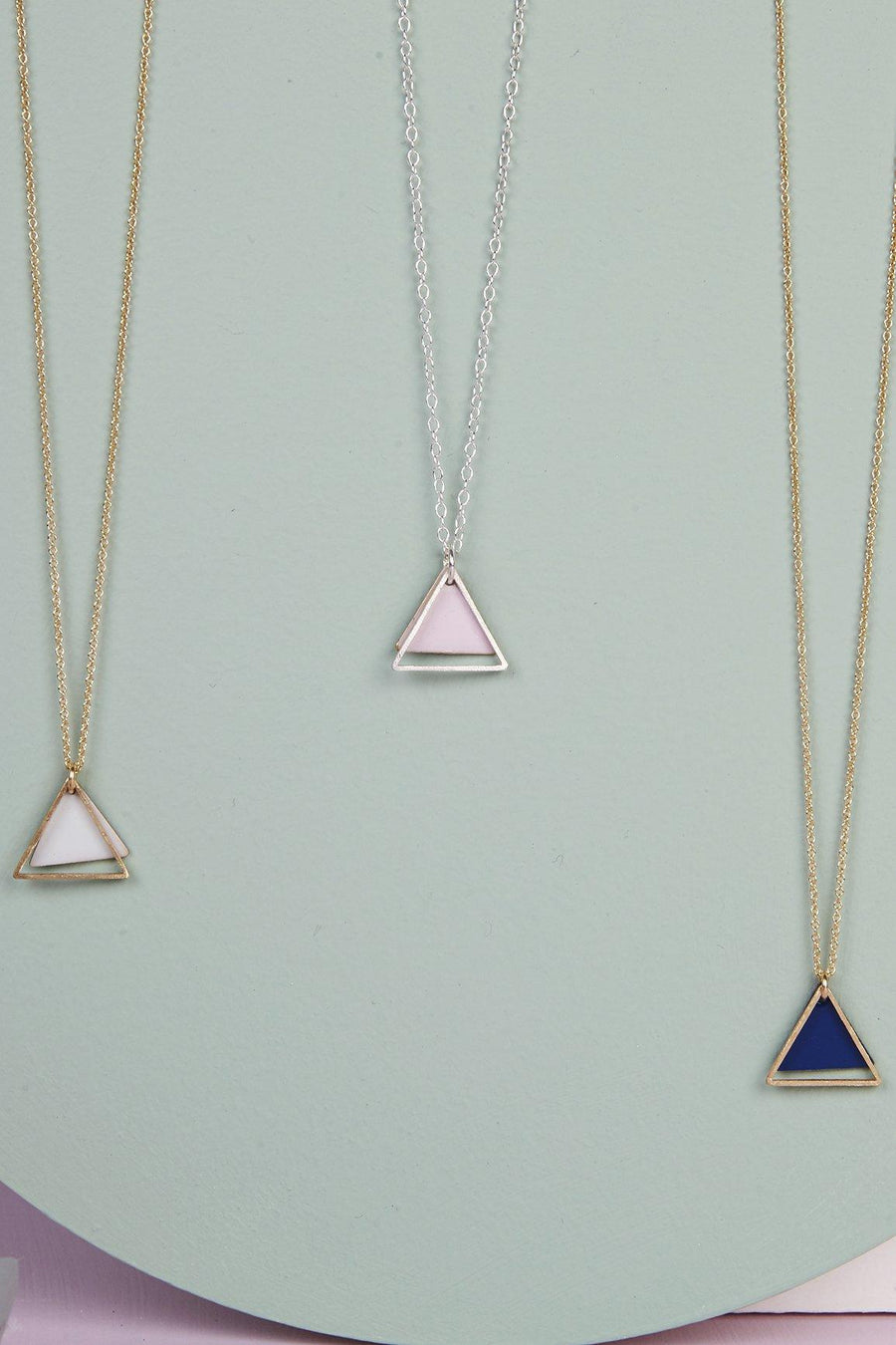 Mini Double Triangle Necklace (Pink-Mint-White-Navy Blue)