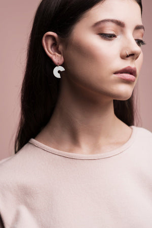 Brass Washer Earrings (Pink)