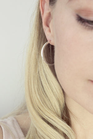 Sterling Silver Textured Hoops
