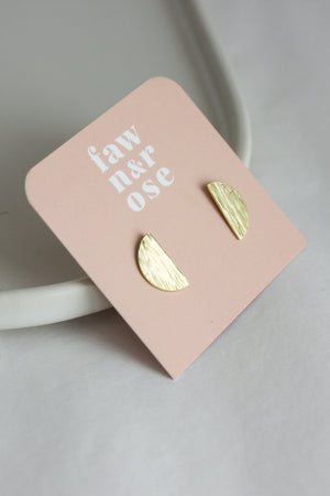 Textured Brass Half Circle Studs