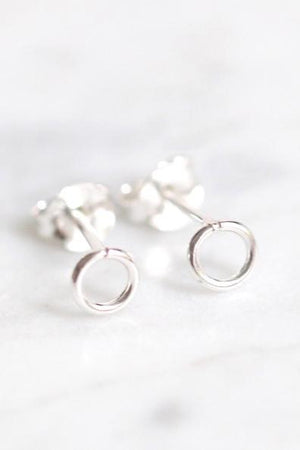 Tiny Open Circle Stud Earrings (Silver)