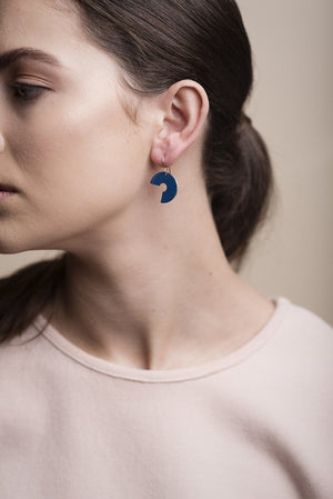 Brass Washer Earrings (Navy)
