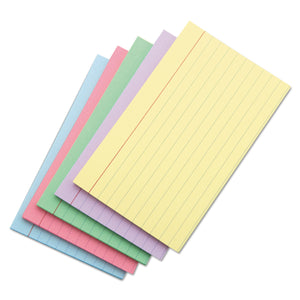 Index Cards, Ruled on 1 Side, 4x6, 100/PK, Assorted