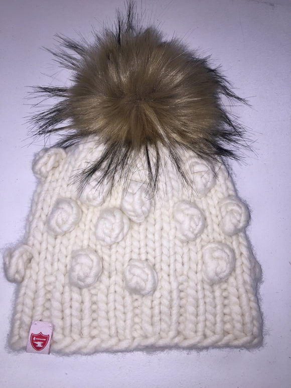 Lil Campbell (Child Size) in White w/Fur Pom Pom