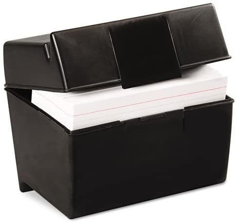INDEX CARD FILE BOX 4X6 BLACK OXFORD
