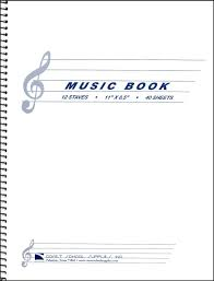 MUSIC MANUSCRIPT NOTEBOOK 12 STAVES - 11X8.5 - 40 SHEETS