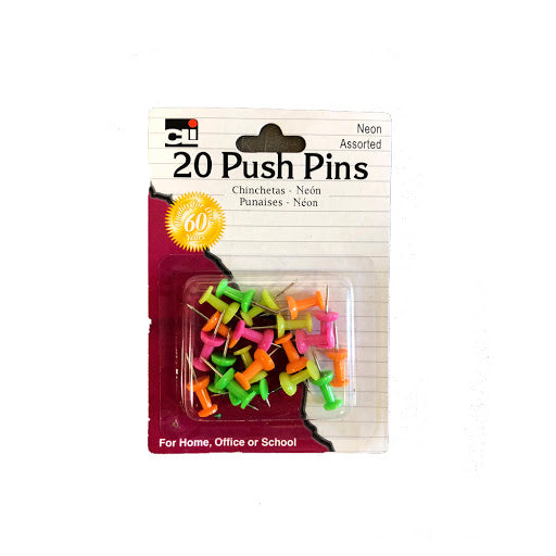 PUSH PINS - 20 COUNT NEON ASSORTED COLORS