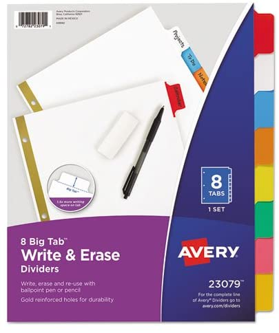 Avery 8 Big Tab Write & Erase Dividers