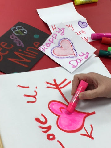 Bright Valentine with crayon cards in the background