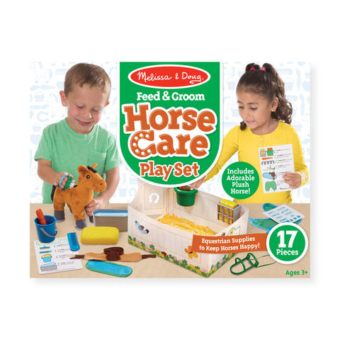 FEED AND GROOM HORSE CARE PLAY SET 3+