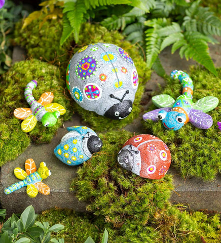 Paint-Your-Own Rock Pets Ladybugs and Dragonflies