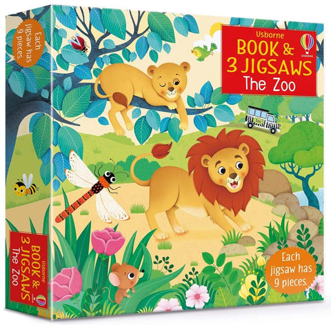 Book & 3 Jigsaw Puzzles The Zoo 3+