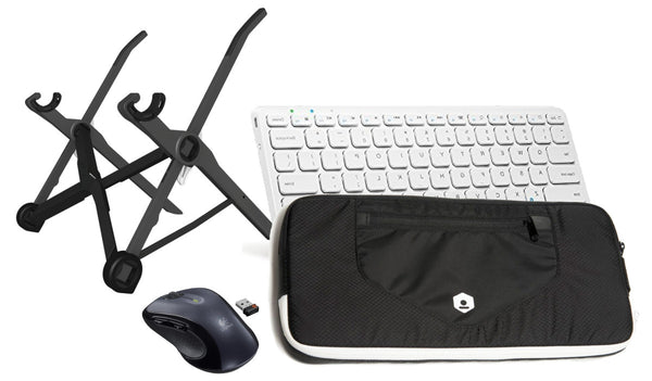 Roost Laptop Stand<br>+ RKM Carrying Case<br>+ Anker Bluetooth Keyboard<br>+ Logitech Wireless Mouse