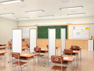 Protable hygienic partitions by Altro in a classroom