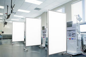 Protable hygienic partitions by Altro in a healthcare setting